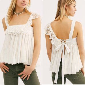 Free People Ivory Garden Eyelet Party Tank Top M